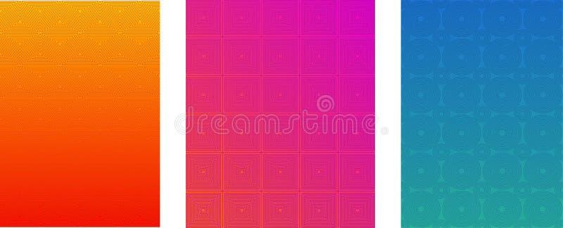 Minimalni pokrywy lub broszurki Wektorowi szablony Ustawiający Halftone Gradientowy Jaskrawy tło Ulotka, ulotka, sztandar, sieć p royalty ilustracja