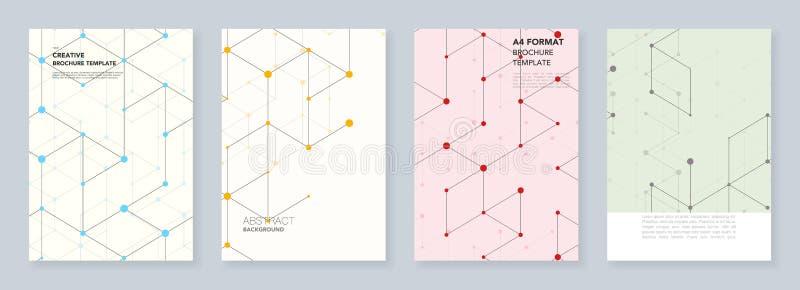 Minimalni szablony dla ulotki, ulotka, broszurka, raport, prezentacja Nowożytny kreskowej sztuki wzór z złączonymi liniami royalty ilustracja