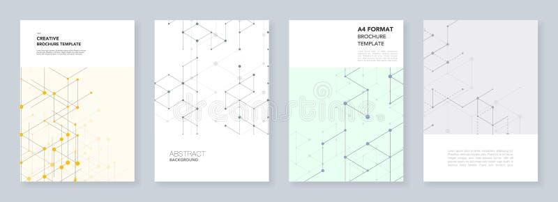 Minimalni szablony dla ulotki, ulotka, broszurka, raport, prezentacja Nowożytny kreskowej sztuki wzór z złączonymi liniami ilustracja wektor