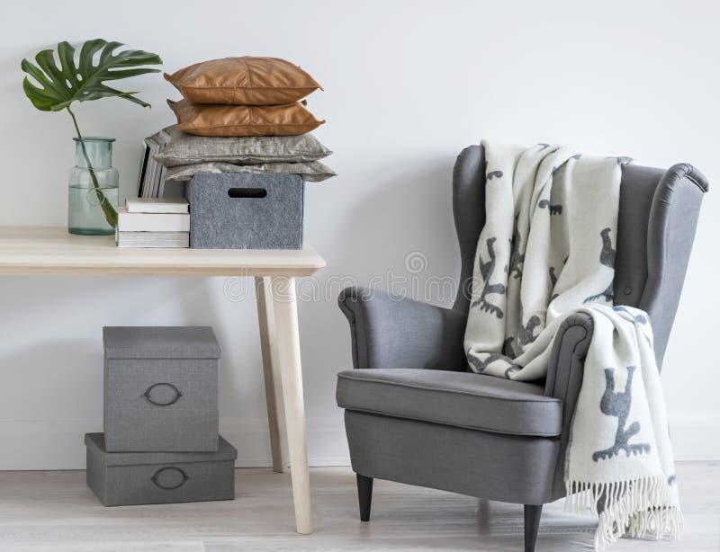 Minimalny żywy izbowy wnętrze zdjęcie stock