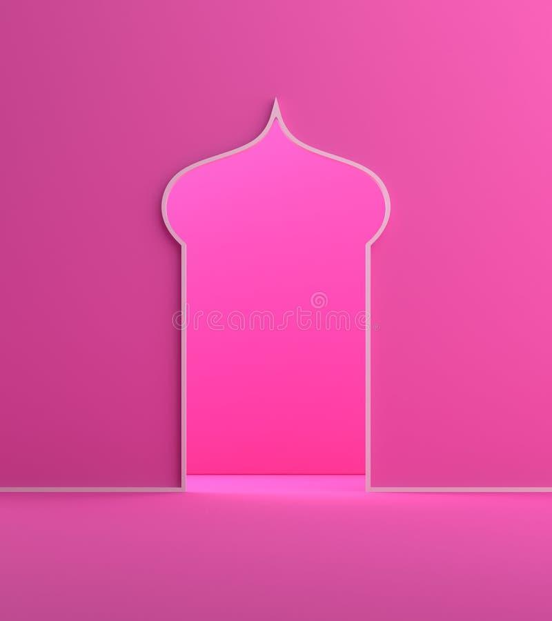 Minimalny arabski nadokienny drzwi menchii pastelu tło ilustracji