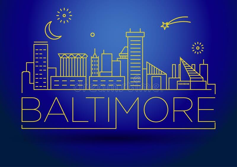 Minimalny Baltimore miasta Liniowy linia horyzontu z Typograficznym projektem royalty ilustracja