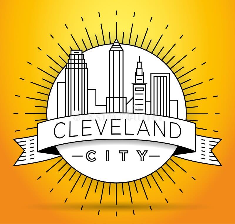 Minimalny Cleveland miasta Liniowy linia horyzontu z Typograficznym projektem royalty ilustracja