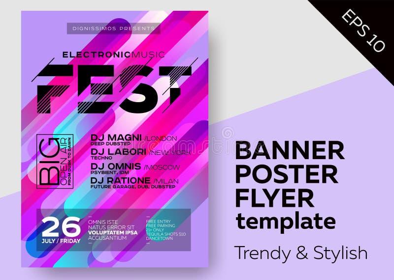 Minimalny DJ plakat dla na wolnym powietrzu Elektronicznej muzyki pokrywa dla lato klubu lub Fest Partyjnej ulotki royalty ilustracja