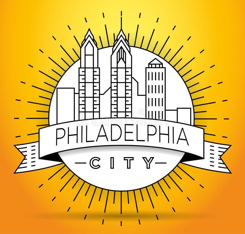 Minimalny Filadelfia miasta Liniowy linia horyzontu z Typograficznym projektem ilustracji
