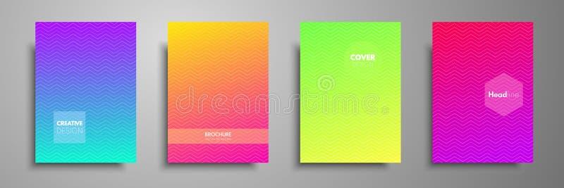 Minimalny kolorowy okładkowego szablonu set Abstrakcjonistyczny projekta szablon dla broszurek, ulotki, sztandary, chodnikowowie, ilustracja wektor