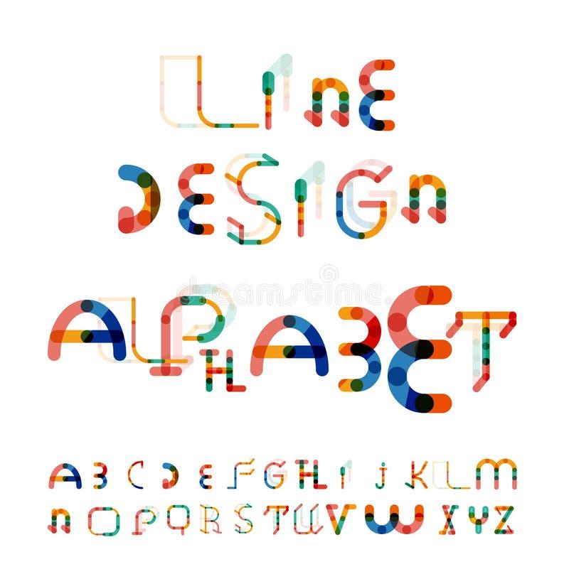 Minimalny kreskowy projekta abecadło, chrzcielnica, typeface ilustracji