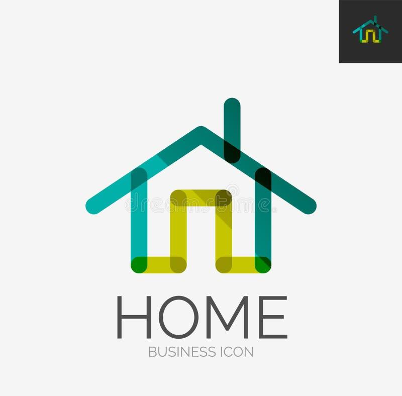 Minimalny kreskowy projekta logo, domowa ikona ilustracji