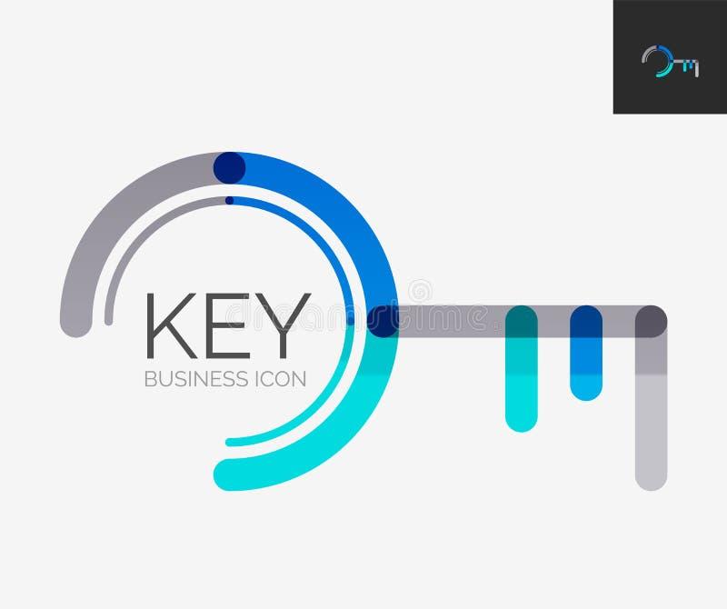 Minimalny kreskowy projekta logo, kluczowa ikona ilustracji