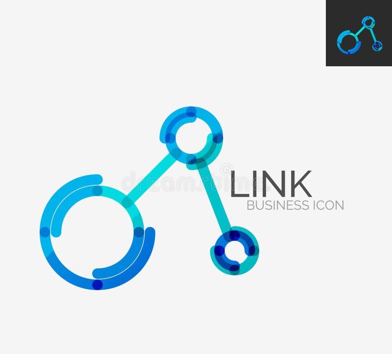 Minimalny kreskowy projekta logo, podłączeniowa ikona ilustracji