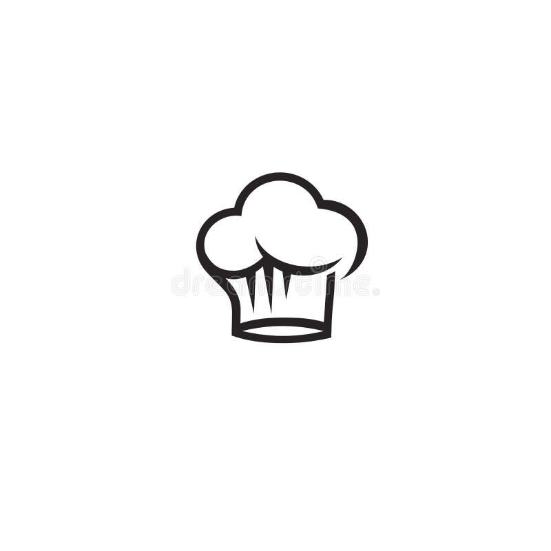 Minimalny logo szefa kuchni czarnego kapeluszu wektoru ilustracja ilustracji