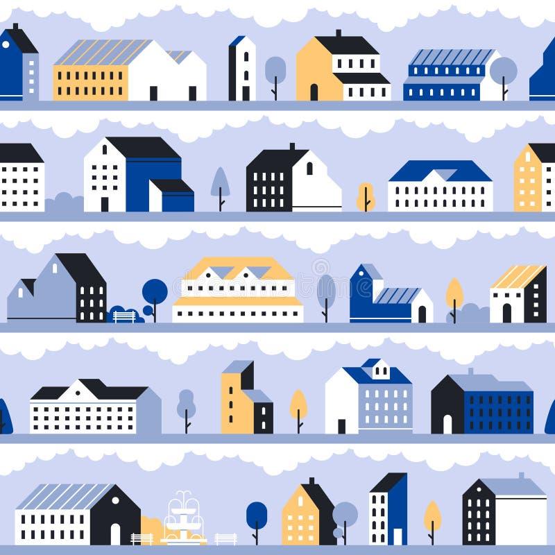 Minimalny miasto wzór Minimalistic miasteczka krajobraz, nowożytni domów domy i geometryczny pejzażu miejskiego wektor bezszw ilustracji