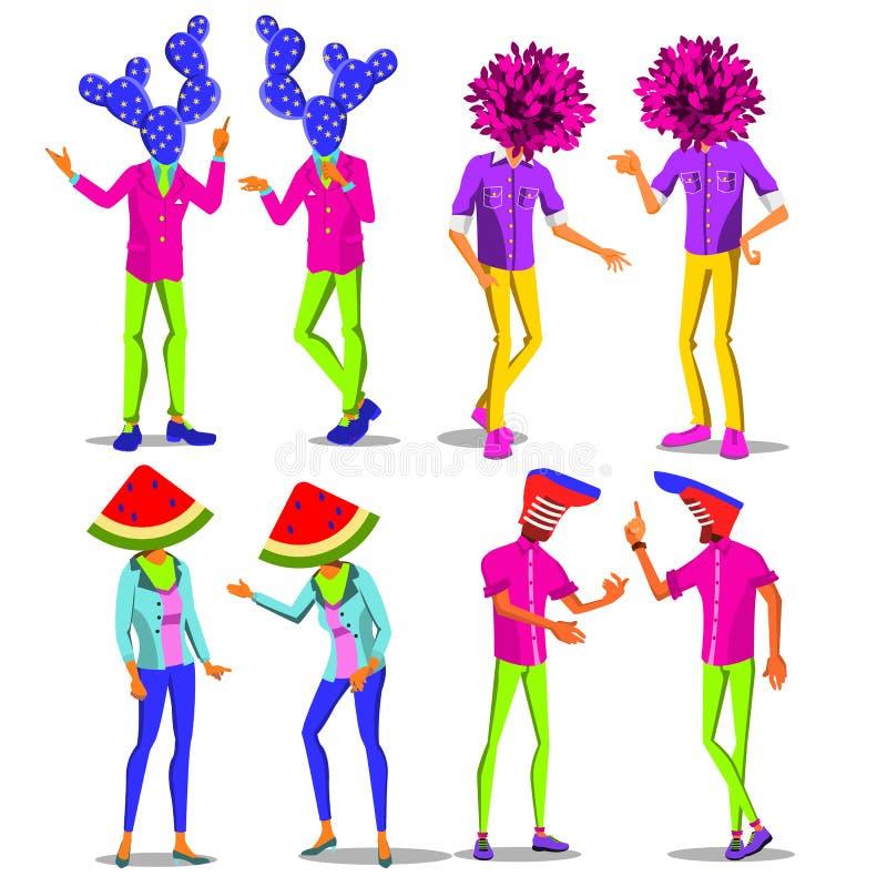 Minimalny nadrealizmu wektor kreatywna osoba Surrealistyczni ludzie moda retro Rocznik odzież Memphis styl holograficzny royalty ilustracja