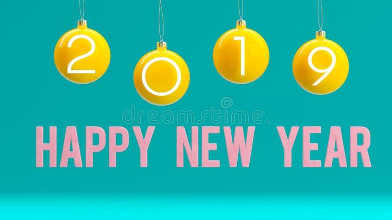 Minimalny 2019 nowy rok pojęcie: Bożenarodzeniowe piłki na błękitnym tle ilustracji