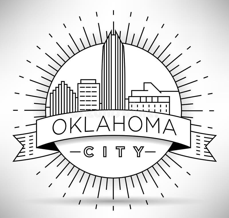 Minimalny Oklahoma miasta Liniowy linia horyzontu z Typograficznym projektem ilustracja wektor