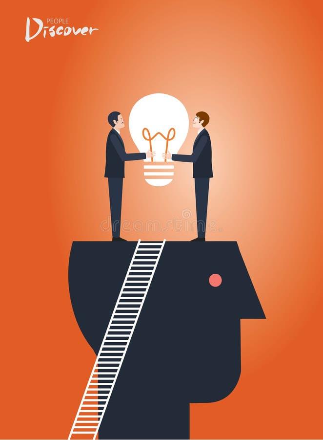 Minimalny płaski charakter biznes odkrywa pomysłu pojęcia ilustracje ilustracji