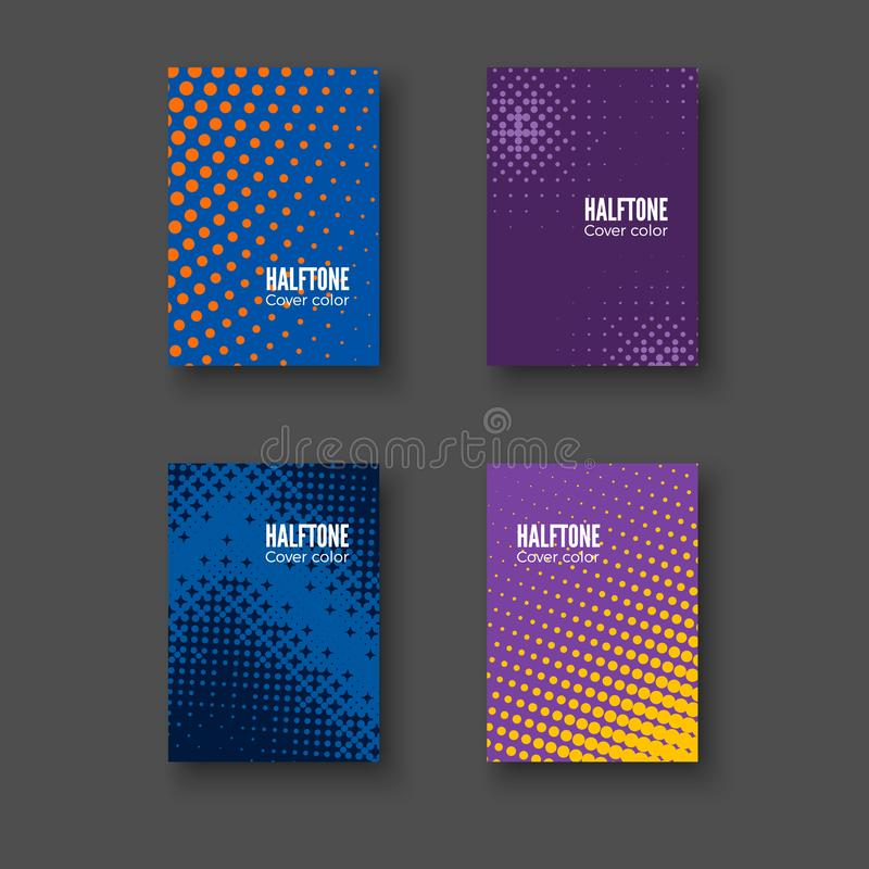 Minimalny pokrywa projekt Geometryczni wzory ustawiający Minimalistic tożsamości szablon Kolorowi halftone gradienty wektor ilustracja wektor