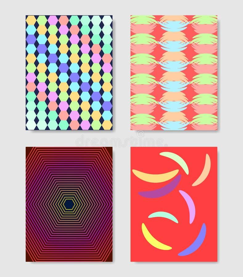 Minimalny pokrywa projekt Kolorowi halftone gradienty Tło geometryczni wzory royalty ilustracja