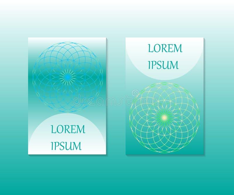 Minimalny pokrywa projekt Kwiat życie geometria święta Mandala symbol royalty ilustracja