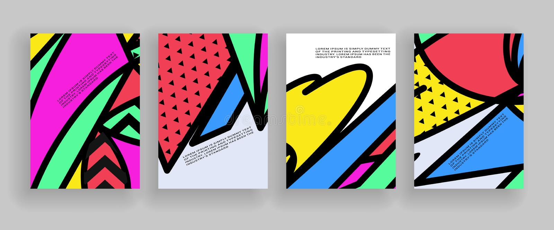 Minimalny pokrywa projekt Plakatów szablony ustawiający z abstrakcjonistycznymi geometrycznymi kształtami, 80s Memphis jaskrawy s ilustracji