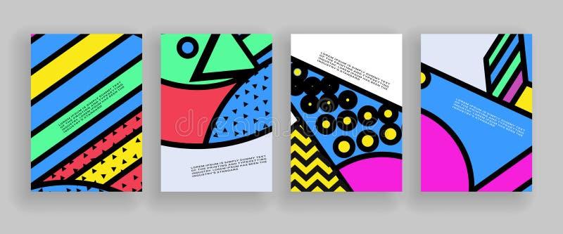 Minimalny pokrywa projekt Plakatów szablony ustawiający z abstrakcjonistycznymi geometrycznymi kształtami, 80s Memphis jaskrawy s ilustracja wektor