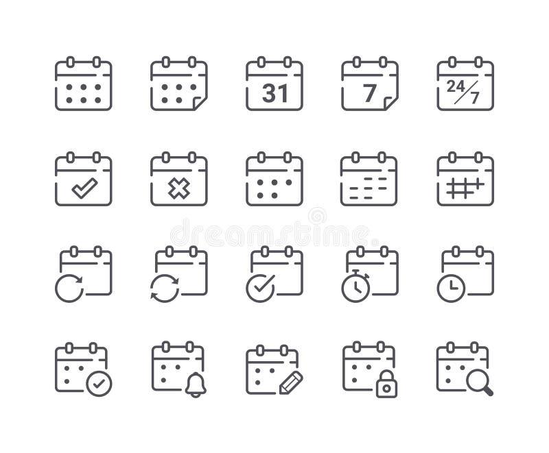 Minimalny set kalendarz i rozkład Kreskowe ikony ilustracja wektor