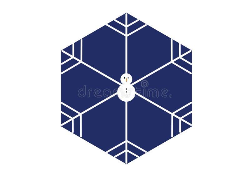 Minimalny stylowy bałwanu płatek śniegu w sześciokąta kształcie na błękitnym tle zdjęcia royalty free