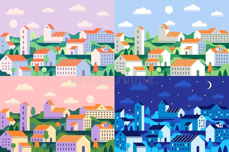 Minimalny stylowy miasteczko Geometryczny minimalistyczny miasto, dzienny pejzaż miejski i nocy townscape płaska wektorowa ilustr ilustracja wektor