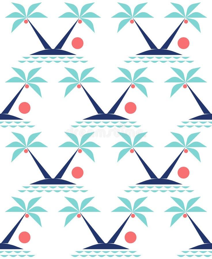 Minimalny tropikalny krajobraz z kokosowymi drzewkami palmowymi na ślicznej wyspie w oceanie przy zmierzchem royalty ilustracja