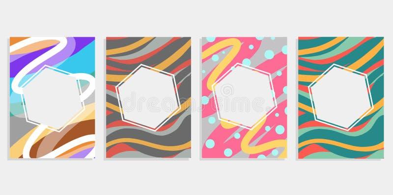 Minimalny ustalony abstrakcjonistyczny tło pokryw projekt Kolorowi halftone gradienty Przyszłościowi geometryczni wzory Eps10 c w royalty ilustracja