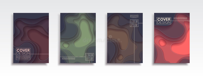 Minimalny wektor pokrywy projekta set z abstrakcjonistycznymi falami Wektorowy projekta układ dla prezentacji, ulotek, plakatów i ilustracja wektor