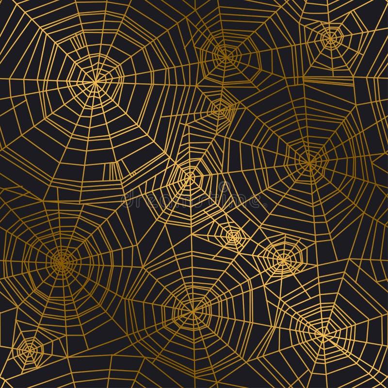 Minimalny złoty pająk sieci bezszwowy wzór royalty ilustracja