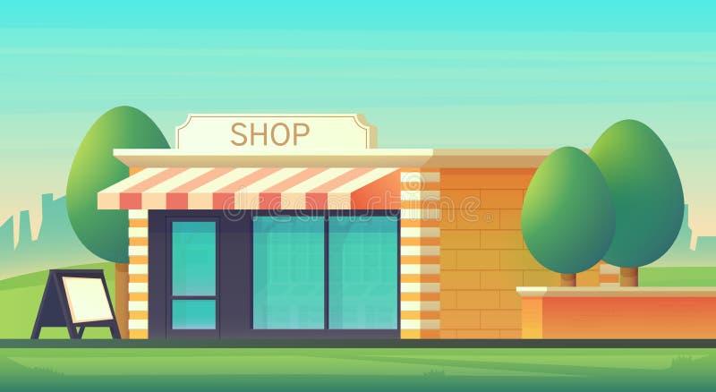 Minimarkt of winkelopslag met cityscape landschap De winkelbouw met glas-verglaasd storefront Het landschap van de stad Vector vector illustratie