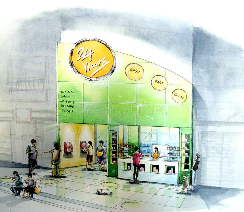 minimart το κατάλληλο κατάστημα ανοίγει το κατάστημα γειτόνων 24-7 διανυσματική απεικόνιση