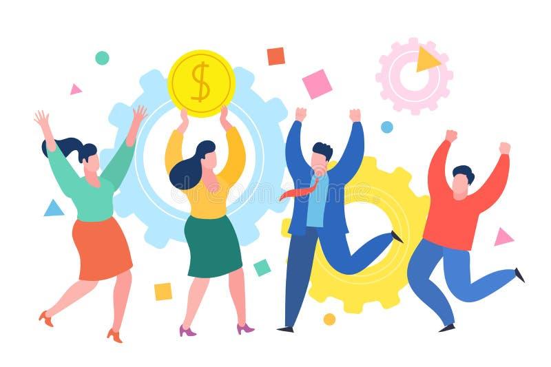 Minimensen bedrijfsconcept De succesvolle bedrijfsvrouw viert succes met collega's Bedrijfsconcept succes royalty-vrije illustratie