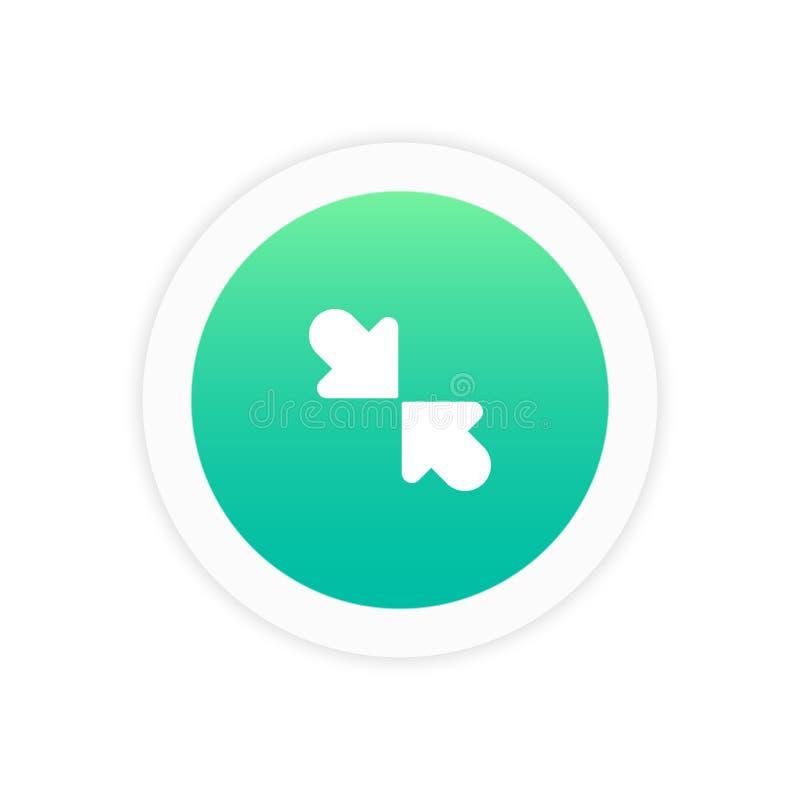 Minimizzi l'icona della freccia isolata illustrazione di stock