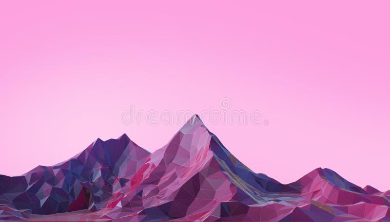 Minimo del paesaggio della montagna poli con la porpora psichedelica di pendenza variopinta su fondo illustrazione vettoriale