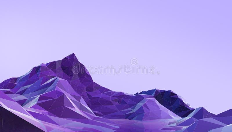 Minimo del paesaggio poli con la porpora psichedelica di pendenza variopinta - blu su fondo royalty illustrazione gratis