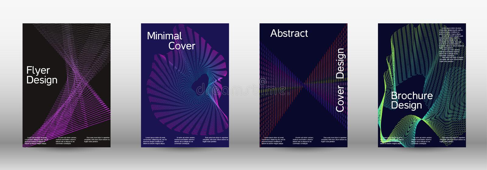 Minimum coverage of a vector. Electronic music festival poster. Minimal vector cover design with abstract gradient linear waves. Vector sound flyer for creating stock photo