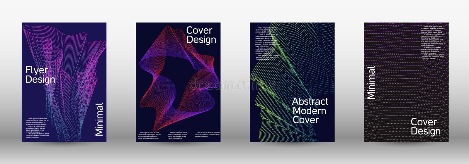 Minimum coverage of a vector. A set of modern abstract backgrounds with abstract gradient linear waves. Sound flyer for creating a fashionable abstract cover royalty free stock photo
