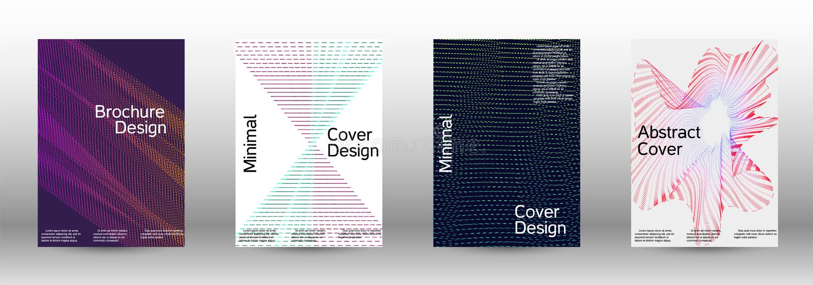 Cover design template set. Minimum coverage of a vector. A set of modern abstract backgrounds with abstract gradient linear waves. Fashionable style. The vector illustration
