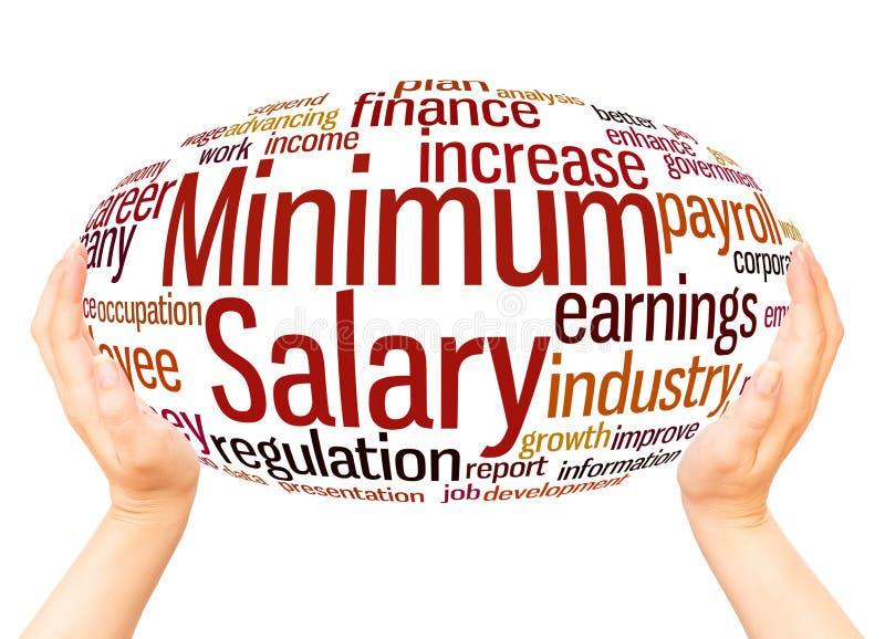 Minimum salary word cloud hand sphere concept stock illustration