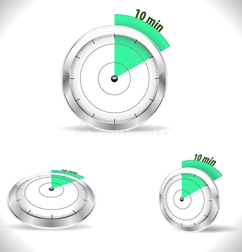10 minimum tidmätare, femton minuter larm vektor illustrationer