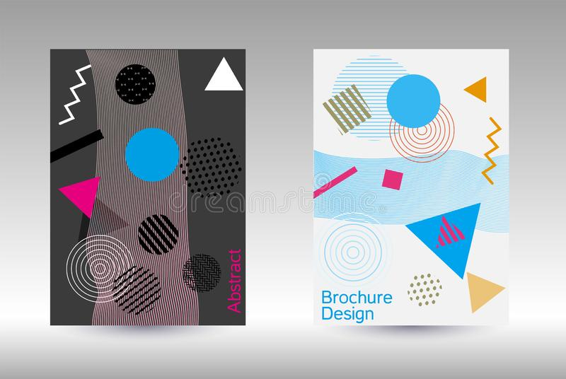 Memphis cover design. Minimum vector coverage. Abstract background in the style of Memphis.  Artistic geometric cover design. Fashionable  cover, banner, poster royalty free illustration
