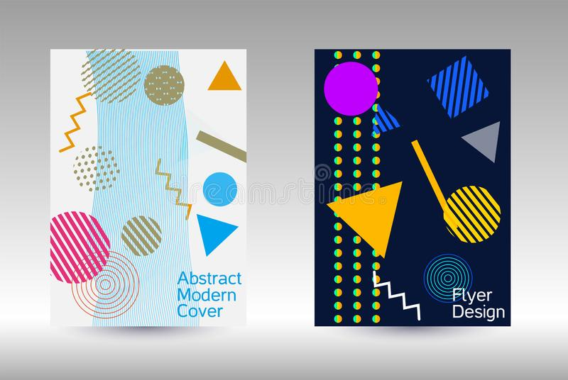 Memphis cover design. Minimum vector coverage. Modern Memphis background. Artistic geometric cover design. Fashionable  cover, banner, poster, booklet. Creative vector illustration