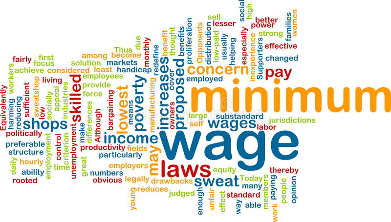 Minimum wage word cloud royalty free illustration