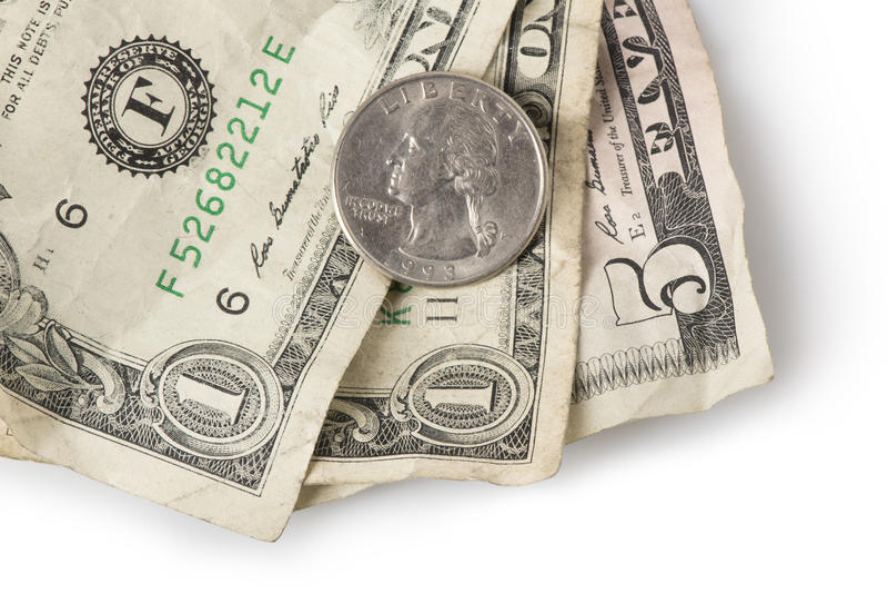 Minimumloon - Kwart op bovenkant royalty-vrije stock foto's