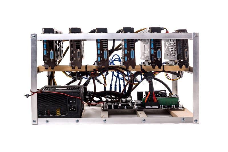 Minin för gruvarbetare för grafiskt kort för altcoin för Cryptocurrency bitcoinethereum arkivfoton