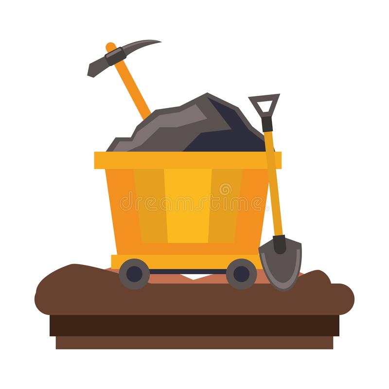 Mining carrier with pick and shovel on ground. Vector illustration graphic design royalty free illustration