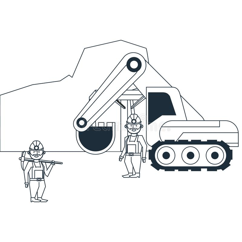 Mining cave with workers and backhoe. In black and white vector illustration graphic design vector illustration